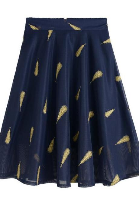 Blue Feather Pattern Embroidery Short Skater Skirt