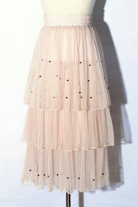 New Arrival Pleated Cake Skirt - Pink