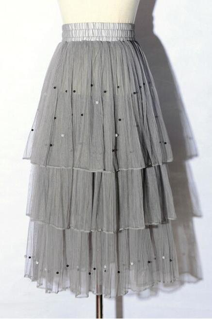 New Arrival Pleated Cake Skirt - Grey