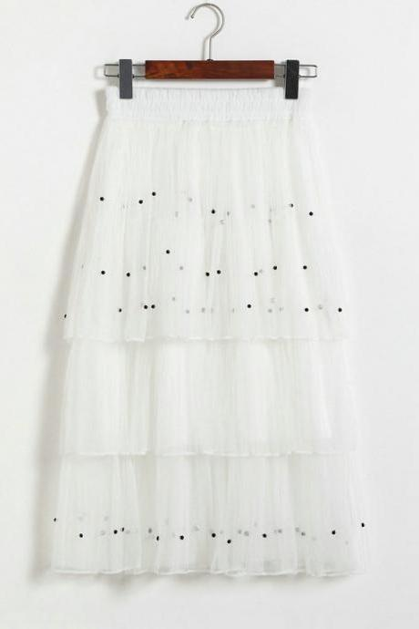 New Arrival Pleated Cake Skirt - White
