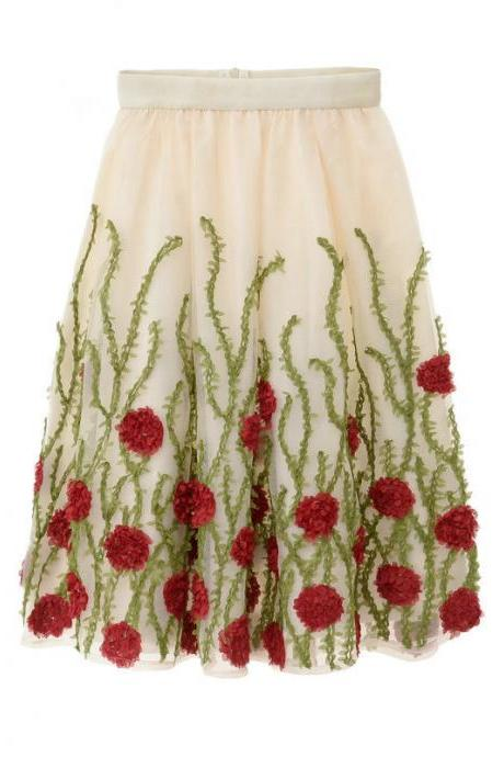 High Waist Flower Print A Line Skirt - Red & Green