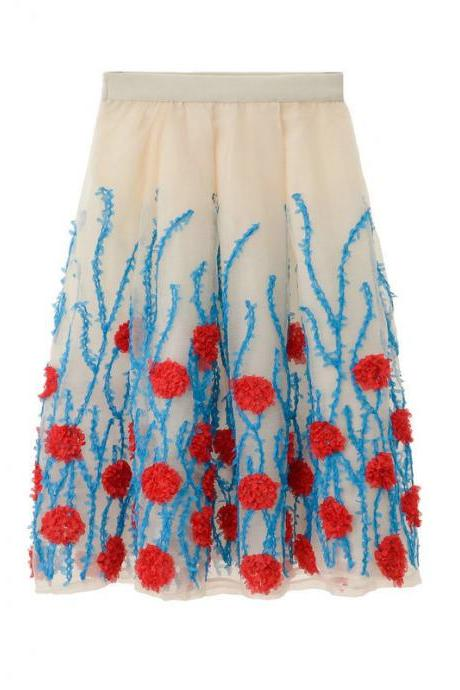 High Waist Flower Print A Line Skirt - Red & Blue