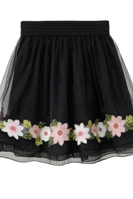 Black Elasticised Floral Embroidered Short A-line Skater Skirt