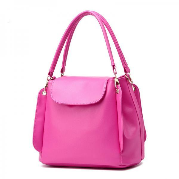 Women Fashion Three Layers Shoulder Bag Casual Crossbody Handbag  - Rose