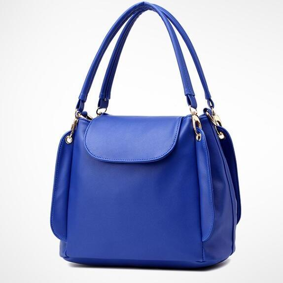 Women Fashion Three Layers Shoulder Bag Casual Crossbody Handbag - Blue