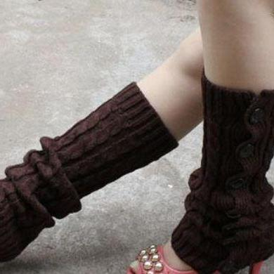 Winter Knitted Leg Warmers Accessories for Women - Coffee