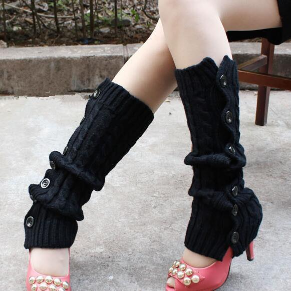 Winter Knitted Leg Warmers Accessories for Women - Black