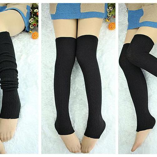 Casual Women Solid color Leg warmer High Slouch Boot Tight Stockings