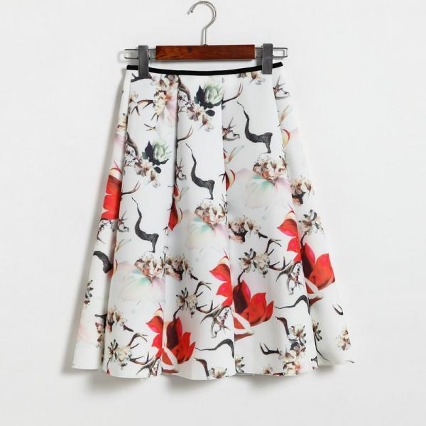 Floral Print White High Rise Ruffled Knee Length A-Line Skirt
