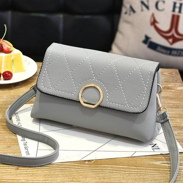 Fashion Small Purse Bag Leather Cross Body Shoulder Messenger Bag - Grey