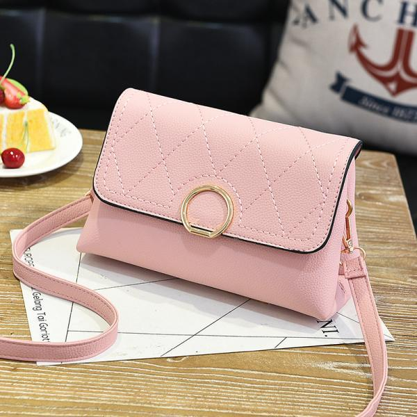 Fashion Small Purse Bag Leather Cross Body Shoulder Messenger Bag - Pink