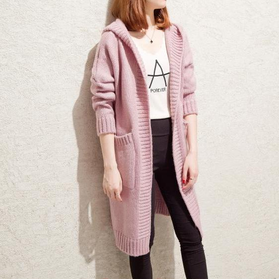 New Autumn  Winter Long Sleeve Loose Casual Sweater Coat  Cardigan Coat Women Outwear  - Pink