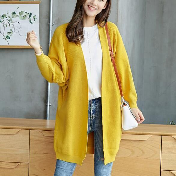 Mustard Yellow Knitted Long Cardigan