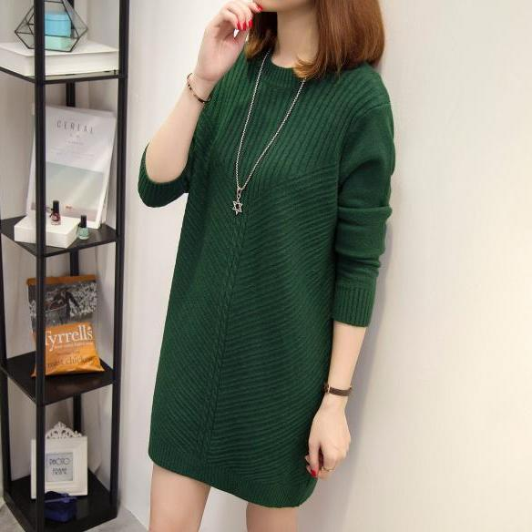 Women Long Sleeve Winter Warm Pullover Sweater Ladies Casual Jumper Tops - Green