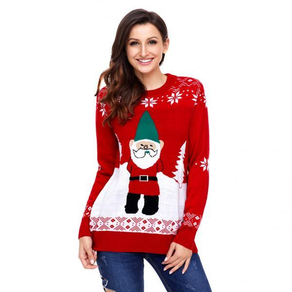 Christmas Sweater Women Long Knitted Pull Sweaters And Pullovers O Neck Winter Clothes