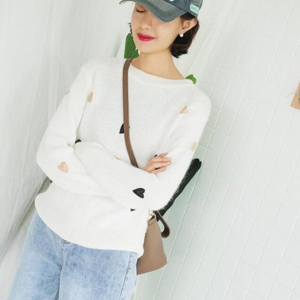 Women Fashion Winter Autumn Heart Sweater Candy Color Pullovers Knitting Sweater Tops - White