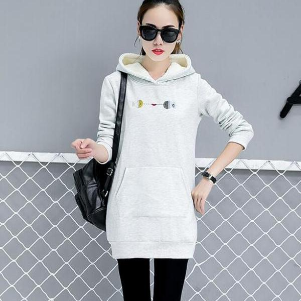 Womens Hooded Pocket Top Ladies Fashion Striped Long Shirt - Light Grey