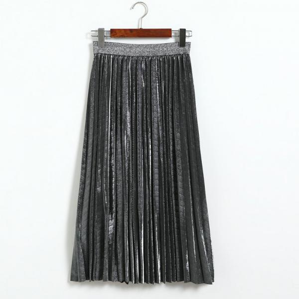 Fshion Women Elastic Waist Pleated Length Skirt - Silver