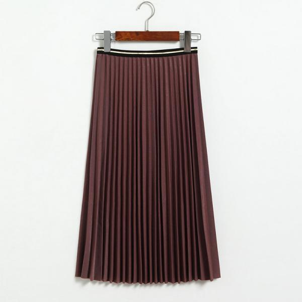 Fshion Women Pleated Skirt - Purple red