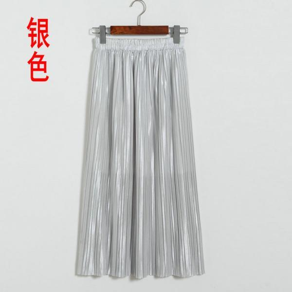 New Long Autumn Women Solid Pleated Skirt - Silver