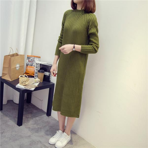 New Style Long Knitted Sweater Dress - Green