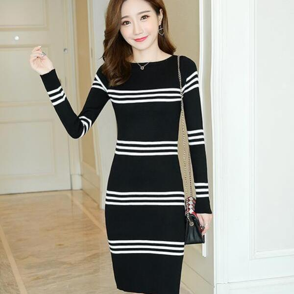 Fashion Women Patchwork Sweater Dress