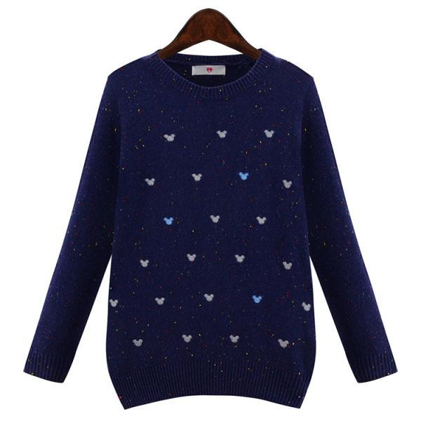 Cute Navy Blue Knitted Round Neck Sweater