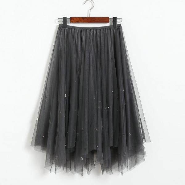 Elegant Beading High Waist Skirt - Grey