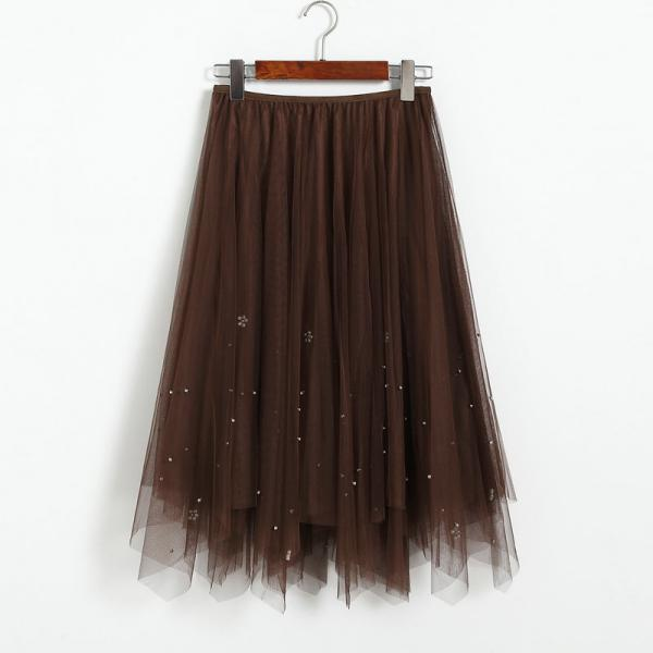 Elegant Beading High Waist Skirt - Coffee