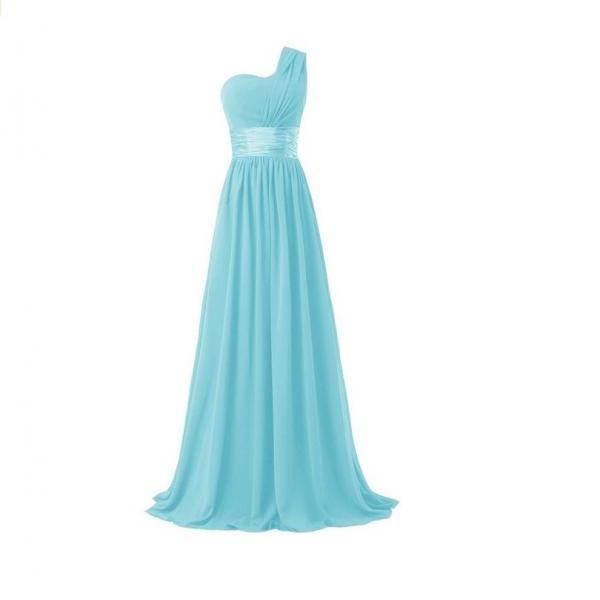 Women Elegant Fashion One Shoulder A Line Chiffon Long Bridesmaid Dress - Sky Blue