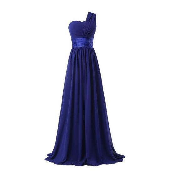 Women Elegant Fashion One Shoulder A Line Chiffon Long Bridesmaid Dress - Blue