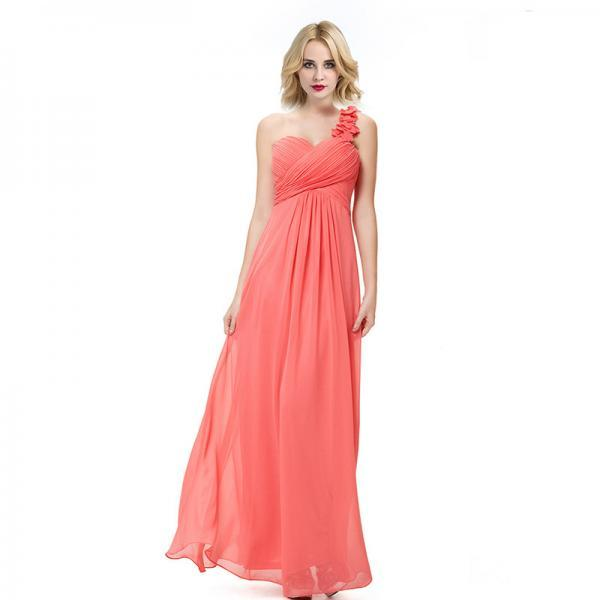 Fashion Women Flower One Shoulder Chiffon Padded Long Bridesmaid Dress - Watermelon Red