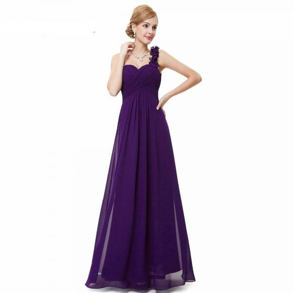 Fashion Women Flower One Shoulder Chiffon Padded Long Bridesmaid Dress - Purple