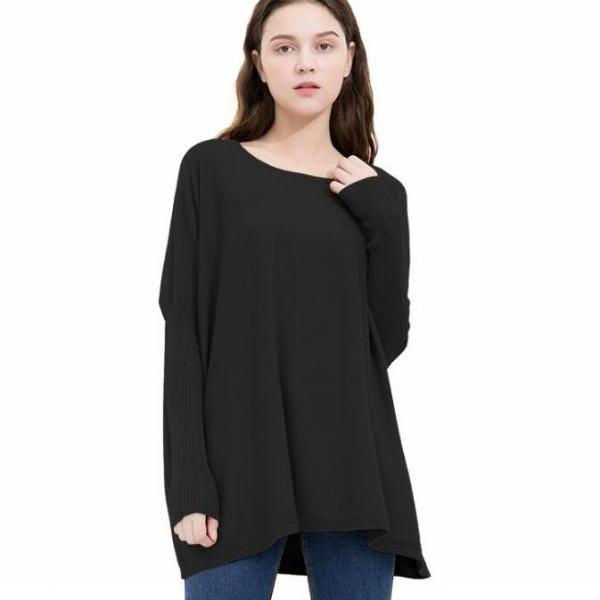 Black Knit Bateau Neck Long Cuffed Sleeves Sweater