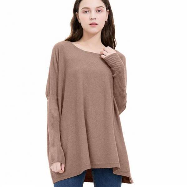 Knit Bateau Neck Long Cuffed Sleeves Sweater in Khaki