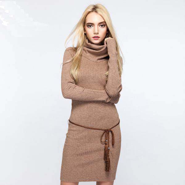 Stylish Knitted Long Sleeve Bodycon Sweater Dress (Without Belt) - Khaki