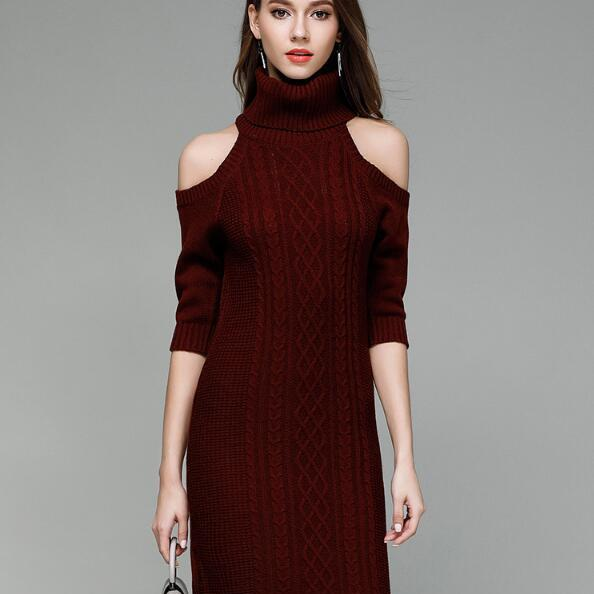 Burgundy Cable Knit Turtleneck Cold Shoulder Half Sleeves Short Sweater Dress