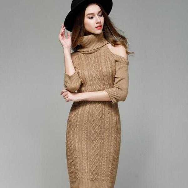 Cable Knit Turtleneck Cold Shoulder Half Sleeves Above Knee Short Sweater Dress