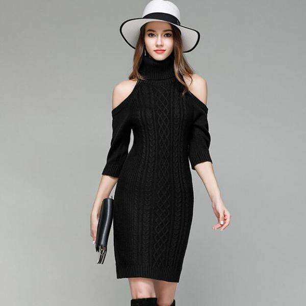 Black Knitted Turtleneck Cold-Shoulder Half Sleeves Short Sweater Dress