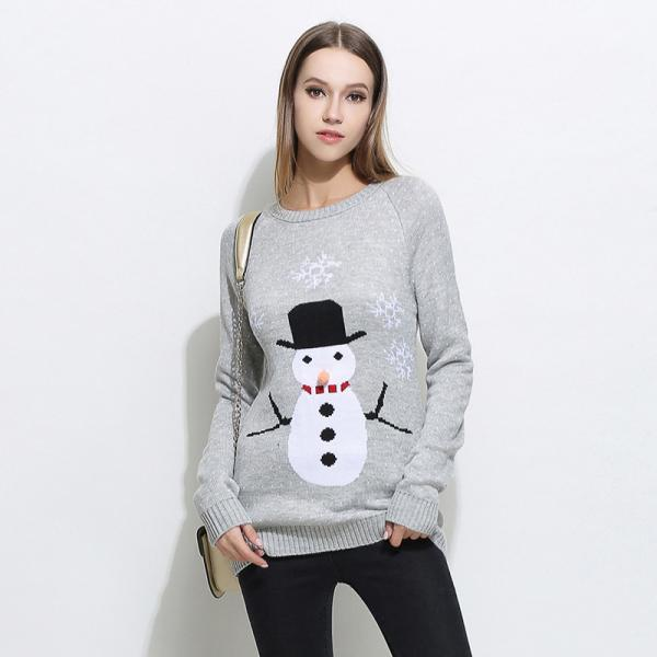 Cute Snowman Christmas Knitted Sweater - Grey