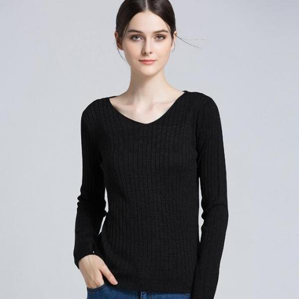 Black Ribbed Knit Plunge V Long Sleeves Sweater
