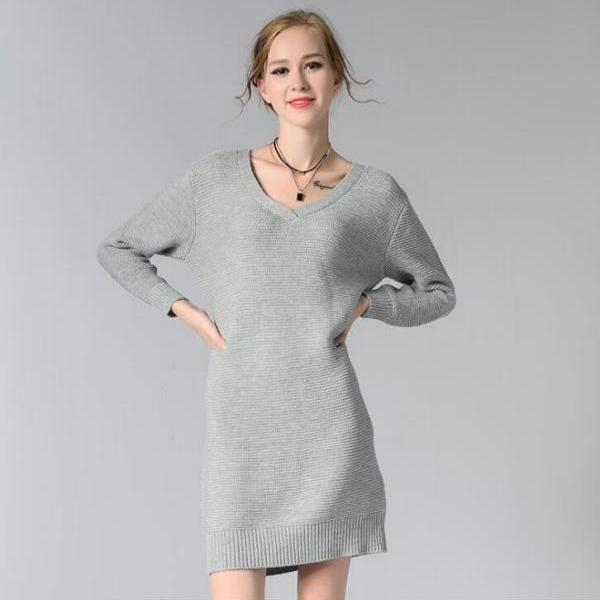 Grey Knitted Plunge V Long Cuffed Sleeves Short Sweater Dress