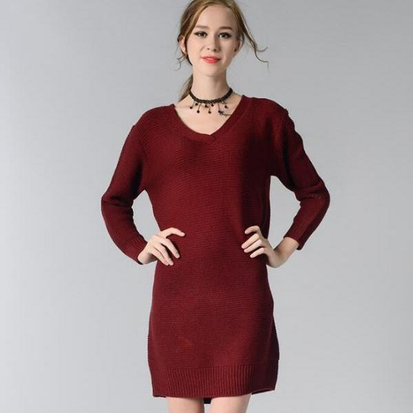 Burgundy Knitted Plunge V Long Cuffed Sleeves Short Shift Sweater Dress
