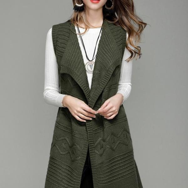 Fashion Long Knit Vest Cardigan - Amy Green