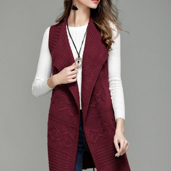 Fashion Long Knit Vest Cardigan - Wine Red