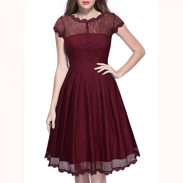 Women's Retro Short Sleeve Lace Slim Party Dress - Wine Red