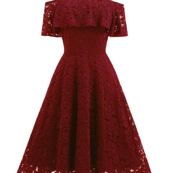 Women's Casual Off Shoulder Lace Swing Dress - Wine Red