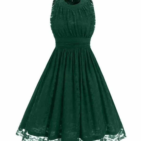 Women's O Neck Sleeveless Slim Tunic Ruched Floral Lace Dress - Green