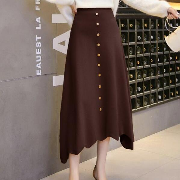 Women High Waist Knit Winter A Line Midi Skirt - Coffee