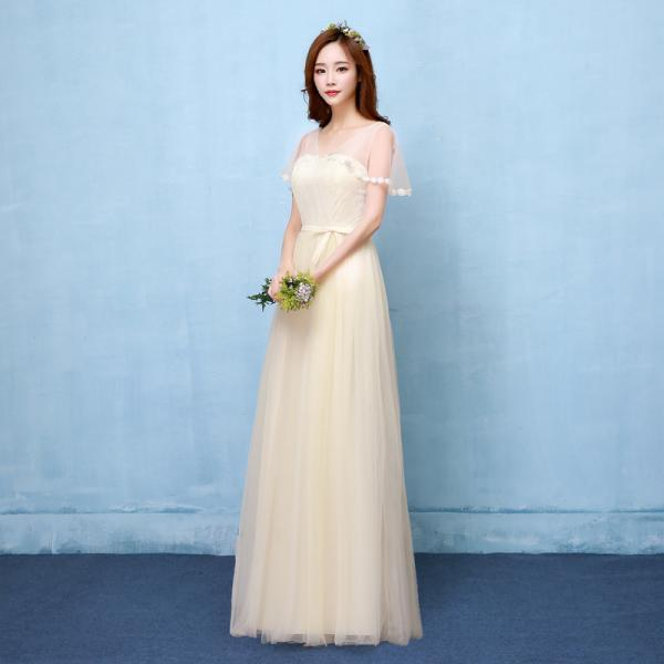 Fshion V Neck Long Bridesmaid Dress Evening Party Wedding Dress - Champagne